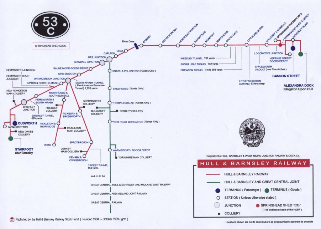 Map of the Hull & Barnsley Railway